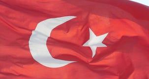 4k Turkey flag is fluttering in wind. stock footage
