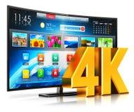 4K TV astuta curva UltraHD Fotografie Stock Libere da Diritti