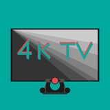 4k tv black on flat style color background. Smart Royalty Free Stock Photo