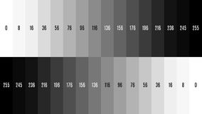 8K 7680x4320 TV Black and white gradient television test pattern to adjust the screen, tint 0-255.  Stock Photo