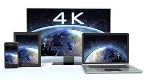 4k TV, computer portatile o taccuino, compressa Fotografie Stock Libere da Diritti