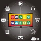 4K TV con le icone delle applicazioni differenti Immagini Stock