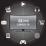 4K TV con los iconos de diversos usos Fotografía de archivo libre de regalías