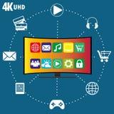 4K TV con los iconos de diversos usos Fotos de archivo