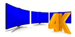 4K TV en el fondo blanco Ejemplo aislado 3d Fotografía de archivo libre de regalías