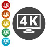 4K tv icon, Ultra HD 4K icon. Simple icons set Royalty Free Illustration