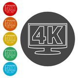 4K tv icon, Ultra HD 4K icon. Simple vector icons set Stock Image