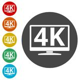 4K tv icon, Ultra HD 4K icon. Simple vector icons set Stock Photos