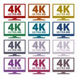 4K tv icon - Vector set. Vector icon Stock Illustration