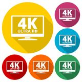 4K tv icon - Vector set with long shadow. Vector icon Royalty Free Stock Images