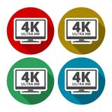 4K tv icon - Vector set with long shadow. Vector icon stock illustration