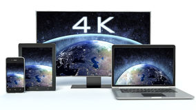4k TV, laptop or notebook, tablet. And metal touchscreen smartphone Royalty Free Illustration