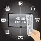 4K TV met binnen pictogrammen van verschillende toepassingen en afstandsbediening Stock Foto