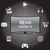 4K TV met pictogrammen van verschillende toepassingen Royalty-vrije Stock Fotografie