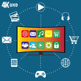 4K TV met pictogrammen van verschillende toepassingen Stock Foto's