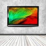 4K TV op de geïsoleerde muur Vector Illustratie