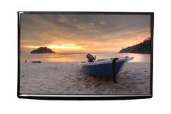 4K TV op de muur royalty-vrije stock fotografie