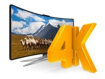 4K TV op witte achtergrond Geïsoleerde 3d illustratie Stock Fotografie