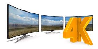 4K TV op witte achtergrond Geïsoleerde 3d illustratie Stock Foto