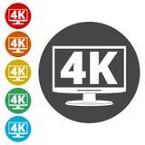 4K TV-pictogram, het Ultrapictogram van HD 4K Stock Afbeelding