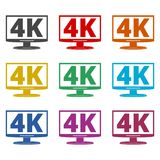 4K TV-pictogram, het Ultrapictogram van HD 4K, geplaatste kleurenpictogrammen Royalty-vrije Stock Afbeelding