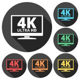 4K TV-pictogram - Vector met lange schaduw wordt geplaatst die Stock Afbeelding