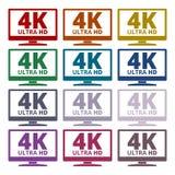4K TV-pictogram - Vectorreeks Stock Afbeelding