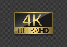 4K TV screen. Ultra HD 4K golden label. High resolution, Vector illustration Royalty Free Stock Photography