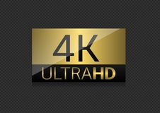 4K TV screen. Ultra HD 4K golden label. High resolution, Vector illustration Royalty Free Stock Image