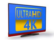 4K TV. 4K Ultra HD TV on a white background Stock Photos