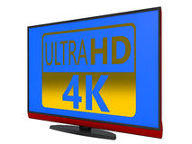 4K TV. 4K Ultra HD TV on a white background Stock Image