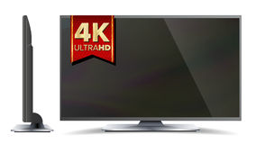 4k TV Vector Screen. Ultra HD Resolution Format. Modern LCD Digital Wide Television Plasma Concept. Isolated Stock Image