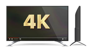 4k TV Vector Screen. Video Player. Modern LCD Digital Wide Television Plasma Concept.  Illustration. 4k TV Vector Screen. UHD Sign. TV Ultra HD Resolution Format Royalty Free Stock Images