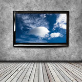 4K TV on the wall isolated Royalty Free Stock Images