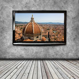 4K TV on the wall isolated Stock Images