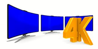 4K TV on white background. Isolated 3D illustration.  Royalty Free Stock Photography