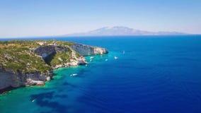 4K UHD Aerial view of  Agios Nikolaos blue caves in Zakynthos Zante island, in Greece. 4K UHD Aerial view of Agios Nikolaos blue caves in Zakynthos Zante island stock video