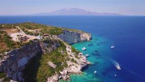 4K UHD aerial view of Agios Nikolaos blue caves  in Zakynthos Zante island, in Greece stock video footage