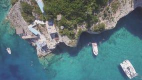4K UHD Aerial view of  Agios Nikolaos blue caves  in Zakynthos Zante island, in Greece - Log. 4K UHD Aerial view of  Agios Nikolaos blue caves  in Zakynthos stock video