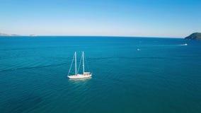 4K UHD Aerial view of a boat mooring in Laganas bay in Zakynthos Zante island in Greece. 4K UHD Aerial view of a boat mooring in  Laganas bay in Zakynthos Zante stock video