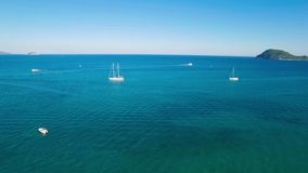 4K UHD Aerial view of a boat mooring in Laganas bay in Zakynthos Zante island in Greece stock video footage