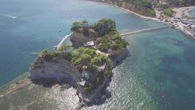 4K UHD  Aerial view of Cameo Island in Zakynthos Zante island, in Greece  Log. 4K UHD  Aerial view of Cameo Island in Zakynthos Zante island, in Greece - Log stock video footage