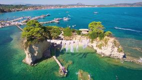 4K UHD  Aerial view of Cameo Island in Zakynthos Zante island in Greece. 4K UHD  Aerial view of Cameo Island in Zakynthos Zante island, in Greece stock video