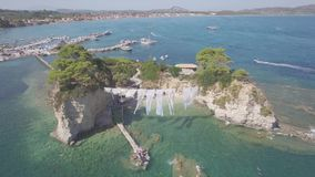 4K UHD  Aerial view of Cameo Island in Zakynthos Zante island, in Greece  Log. 4K UHD  Aerial view of Cameo Island in Zakynthos Zante island, in Greece - Log stock video