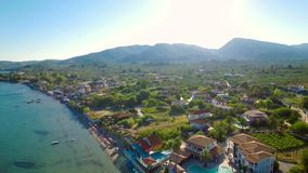 4K UHD  Aerial view of Laganas waterfront in Zakynthos Zante island in Greece. 4K UHD  Aerial view of Laganas waterfront in Zakynthos Zante island, in Greece stock video footage