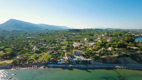 4K UHD Aerial view of Laganas waterfront in Zakynthos Zante island in Greece stock video