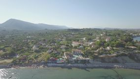 4K UHD  Aerial view of Laganas waterfront in Zakynthos Zante island in Greece  - Log stock video