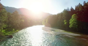 4k UHD aerial view. Low flight over fresh cold mountain river at sunny summer morning. 4k (UHD) aerial view. Low flight over fresh cold mountain river at sunny stock video