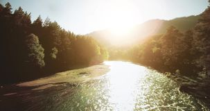 4k UHD aerial view. Low flight over fresh cold mountain river at sunny summer morning. stock video footage
