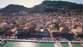 4K UHD Aerial view of Zakynthos city in Zante island in Greece. 4K UHD Aerial  view of Zakynthos city in  Zante island, in Greece stock footage